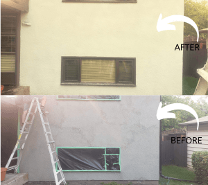 stucco repairs applied on a house in Calgary, AB